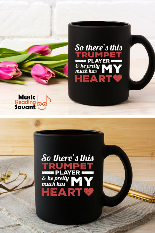 Trumpet Player Heart Coffee Mug Black