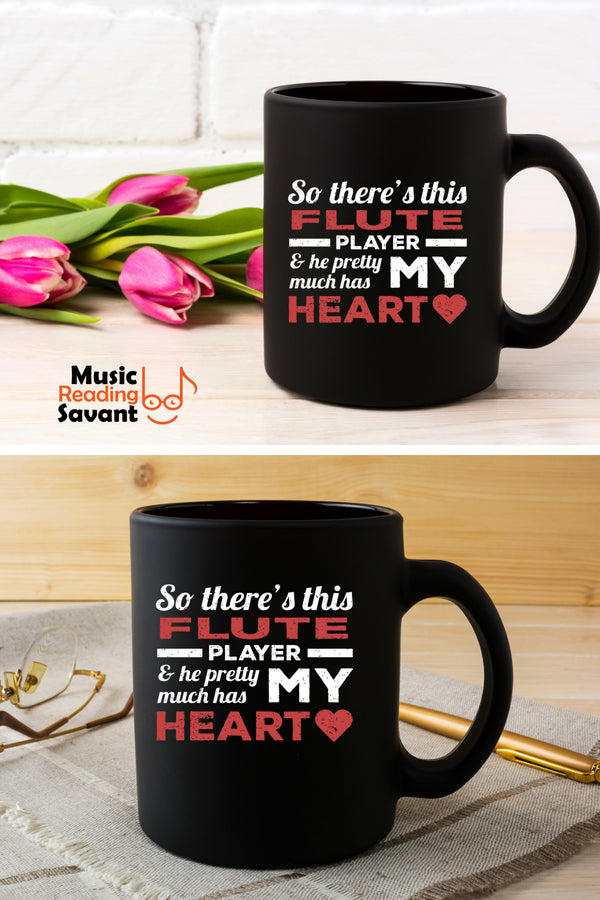 Flute Player Heart Coffee Mug Black