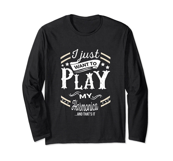 Harmonica Player Long Sleeve T-Shirt