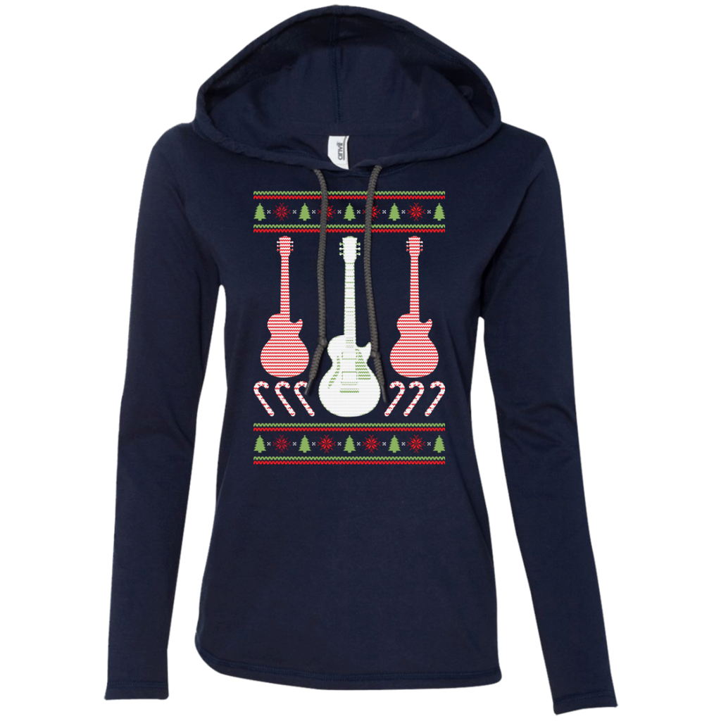 Electric Guitar Ugly Christmas Sweater Ladies Long Sleeve T-Shirt Hoodie