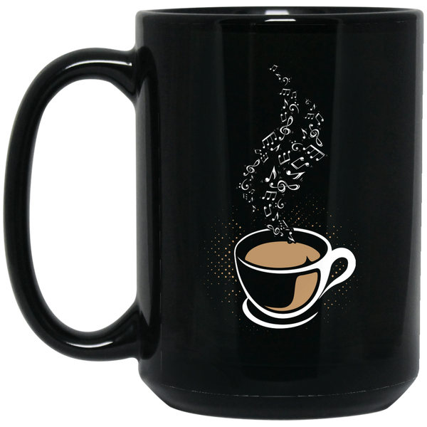 Coffee Cup Steam Music Notes Coffee Mug Black