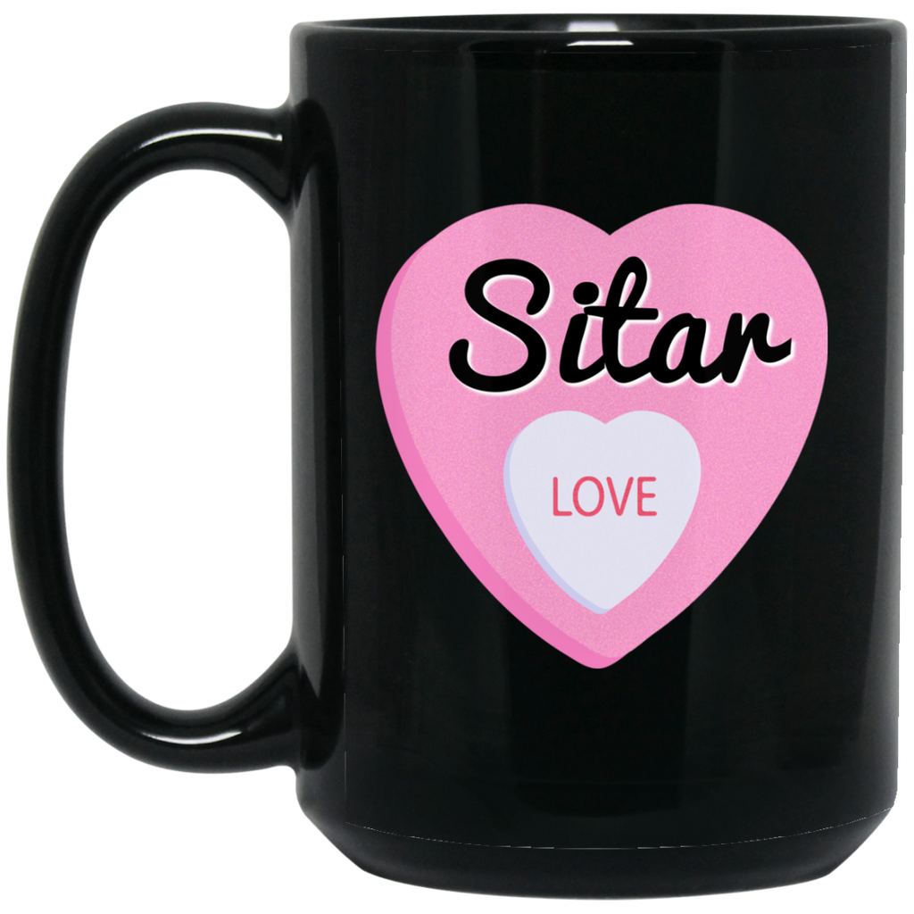 Sitar Love Valentine's Day Hearts Coffee Mug Black