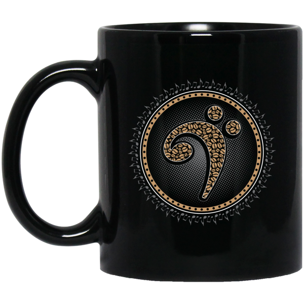 Bass Clef Coffee Beans Coffee Mug Black