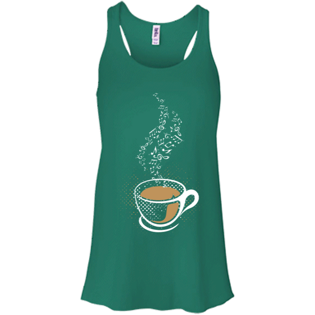 Coffee Art Music Notes Women's Flowy Racerback Tank Top Kelly Green