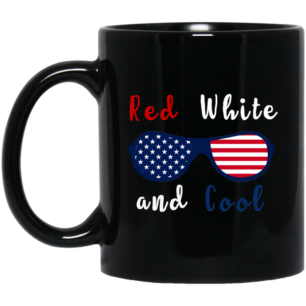Red White And Cool (Patriotic Sunglasses) Coffee Mug Black