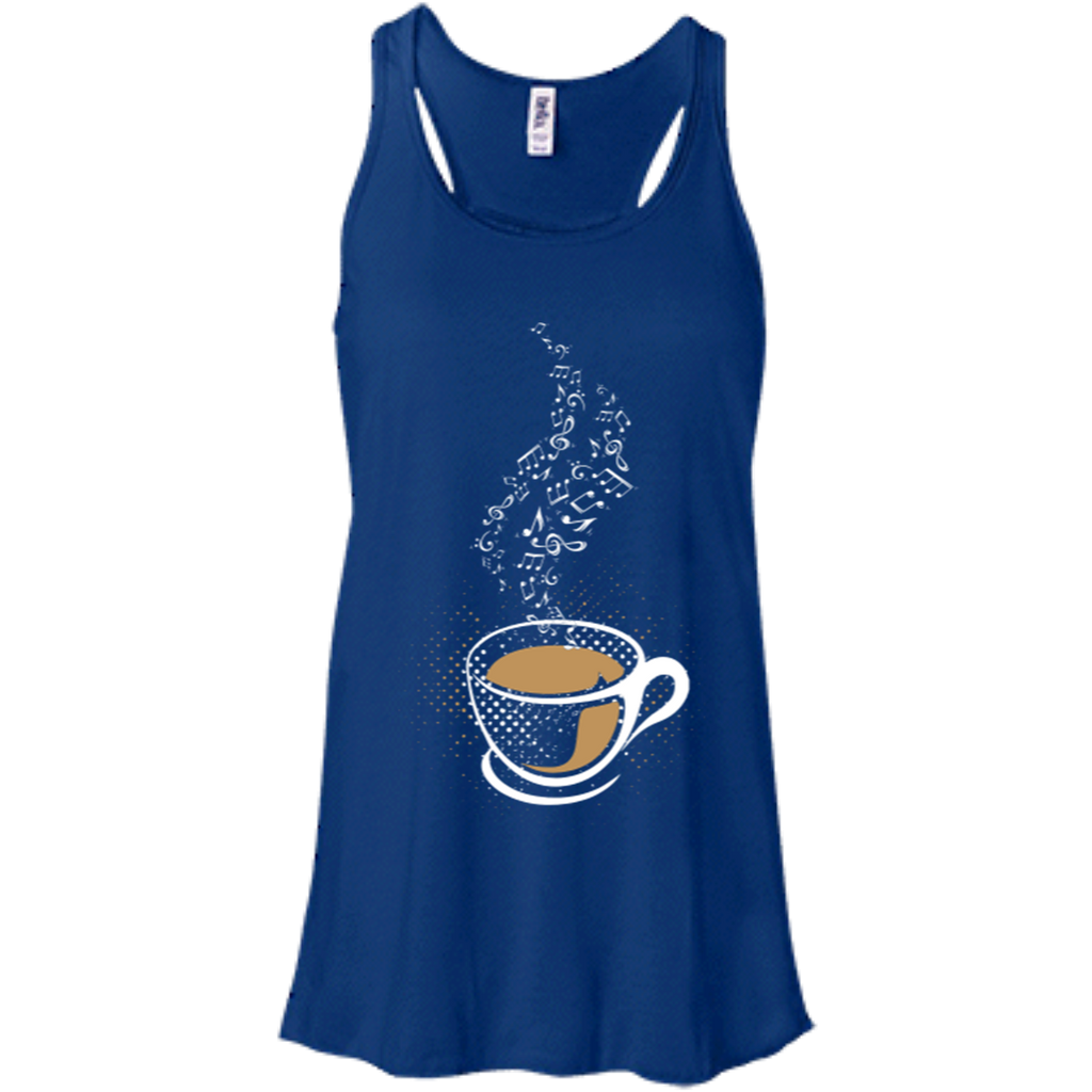 Coffee Art Music Notes Women's Flowy Racerback Tank Top True Royal Blue