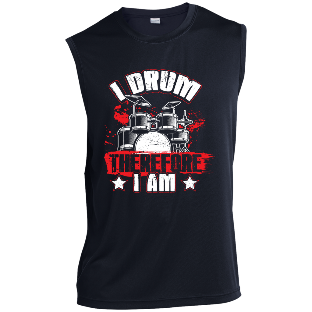 I Drum Therefore I Am Men's Sleeveless Performance T-Shirt