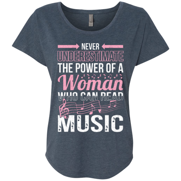 Never Underestimate The Power Of A Woman Who Can Read Music Ladies Dolman Sleeve Shirt - Music Reading Savant Store