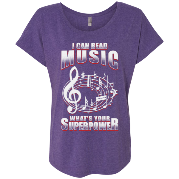 I Can Read Music, What's Your Superpower Ladies Dolman Sleeve Shirt - Music Reading Savant Store