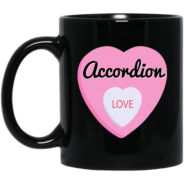Accordion Love Valentine's Day Hearts Coffee Mug Black