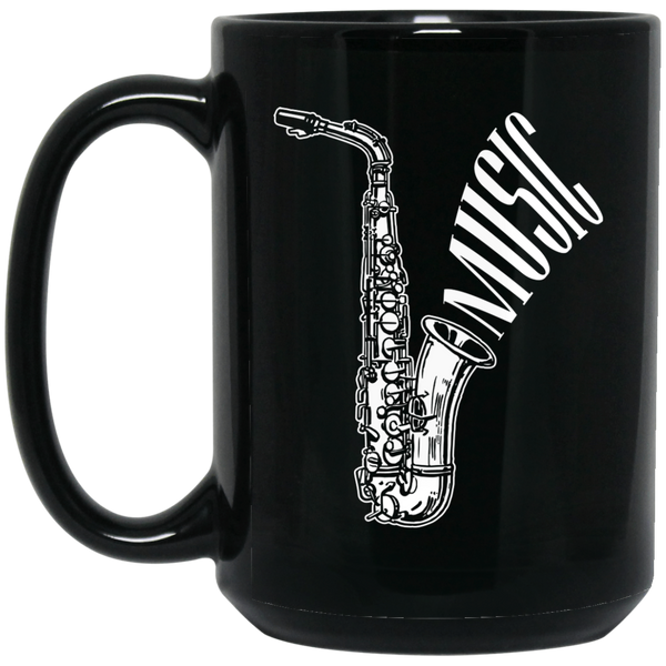 Saxophone Music Coffee Mug Black