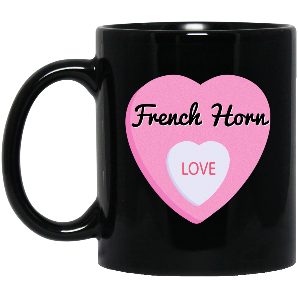 French Horn Love Valentine's Day Hearts Coffee Mug Black