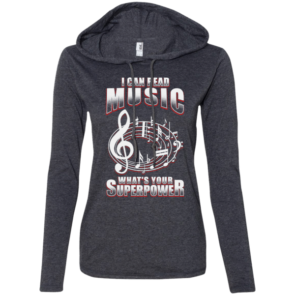 Read Music Long Sleeve T-Shirt Hoodie for Women