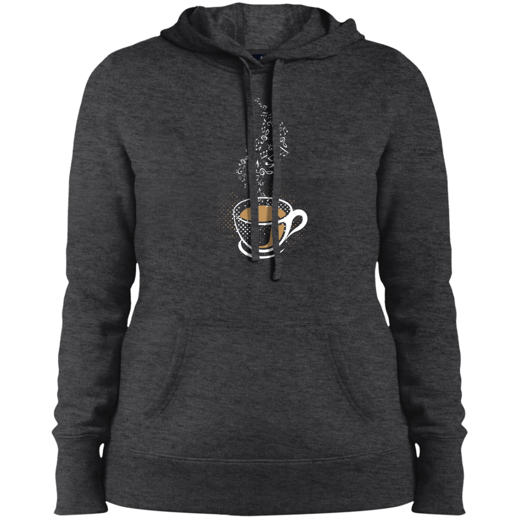 Hot Coffee Music Notes Ladies Pullover Hooded Sweatshirt