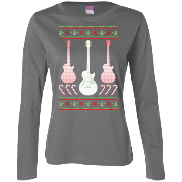 Electric Guitar Ugly Christmas Sweater Ladies Long Sleeve T-Shirt