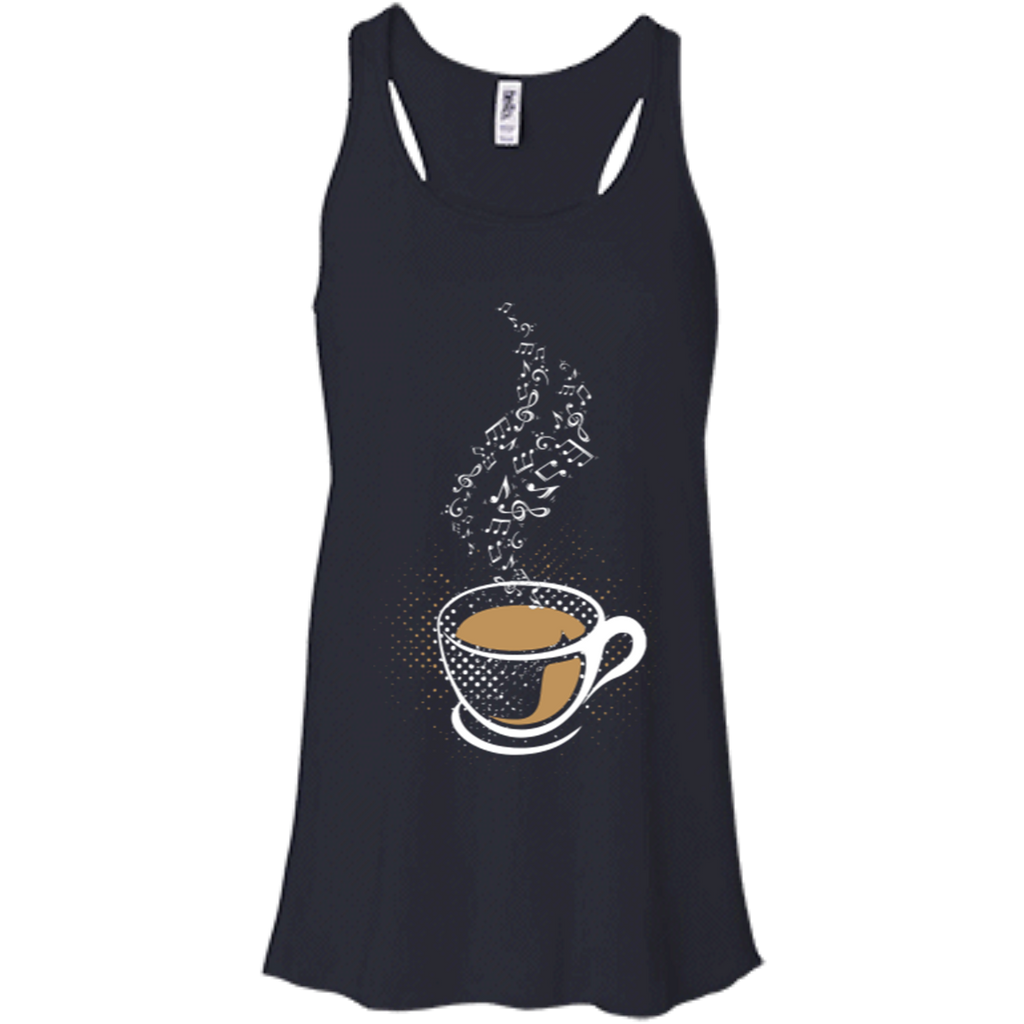 Coffee Art Music Notes Women's Flowy Racerback Tank Top Midnight