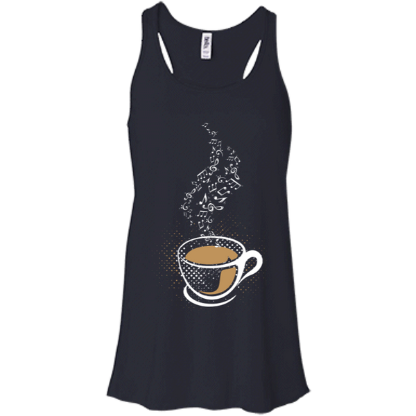 Coffee Art Music Notes Women's Flowy Racerback Tank Top Maroon Red