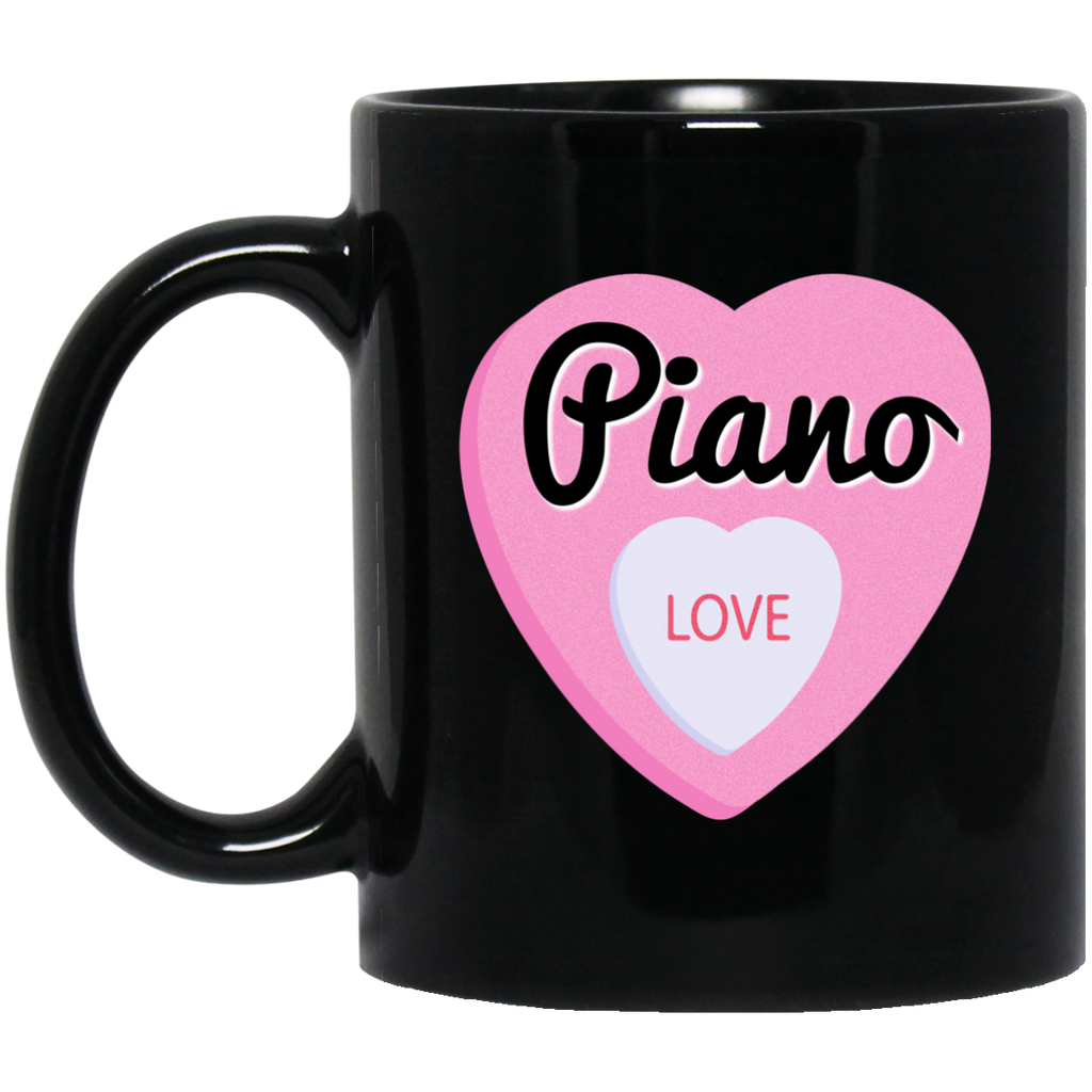 Piano Love Valentine's Day Hearts Coffee Mug Black