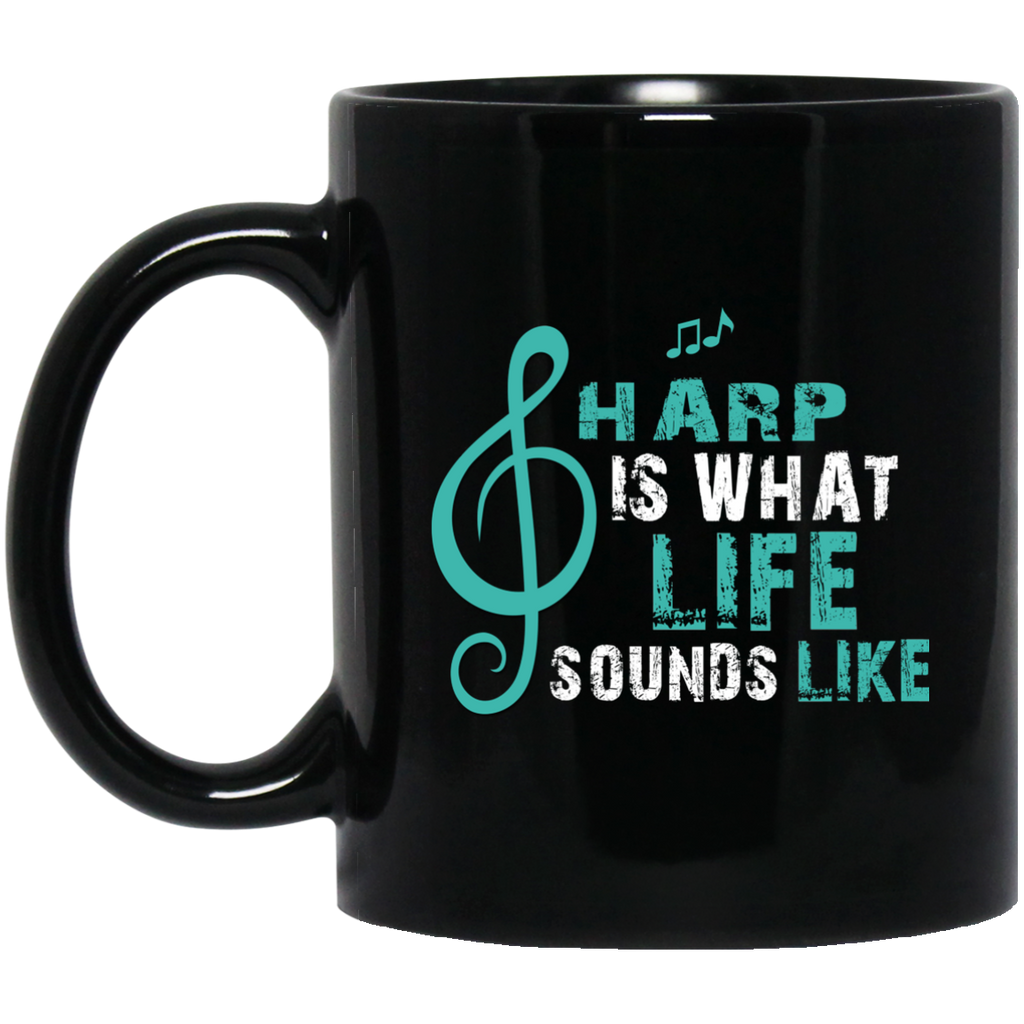 Harp is What Life Sounds Like Coffee Mug Black