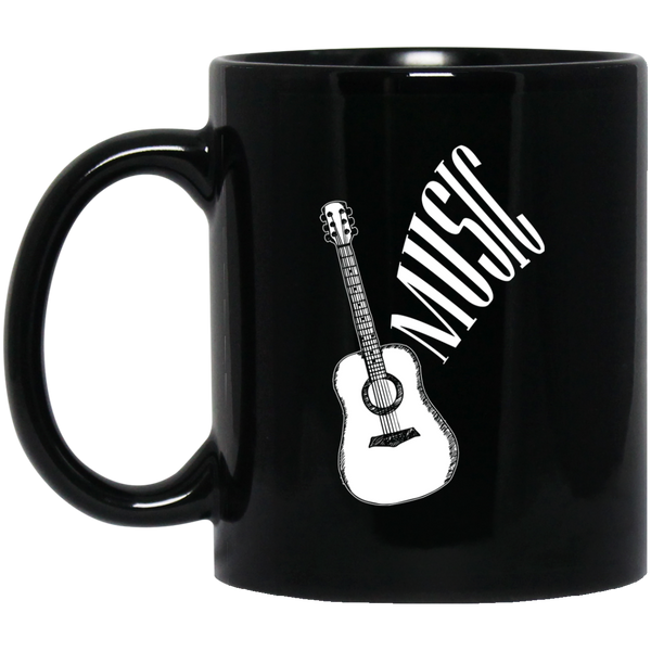 Guitar Music Coffee Mug Black
