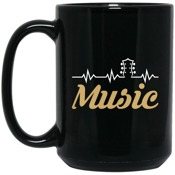 Music Guitar Heartbeat Coffee Mug Black