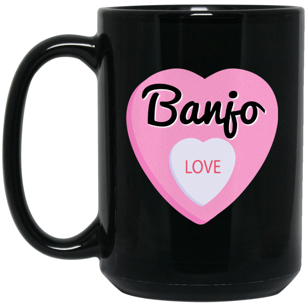 Banjo Love Valentine's Day Hearts Coffee Mug Black