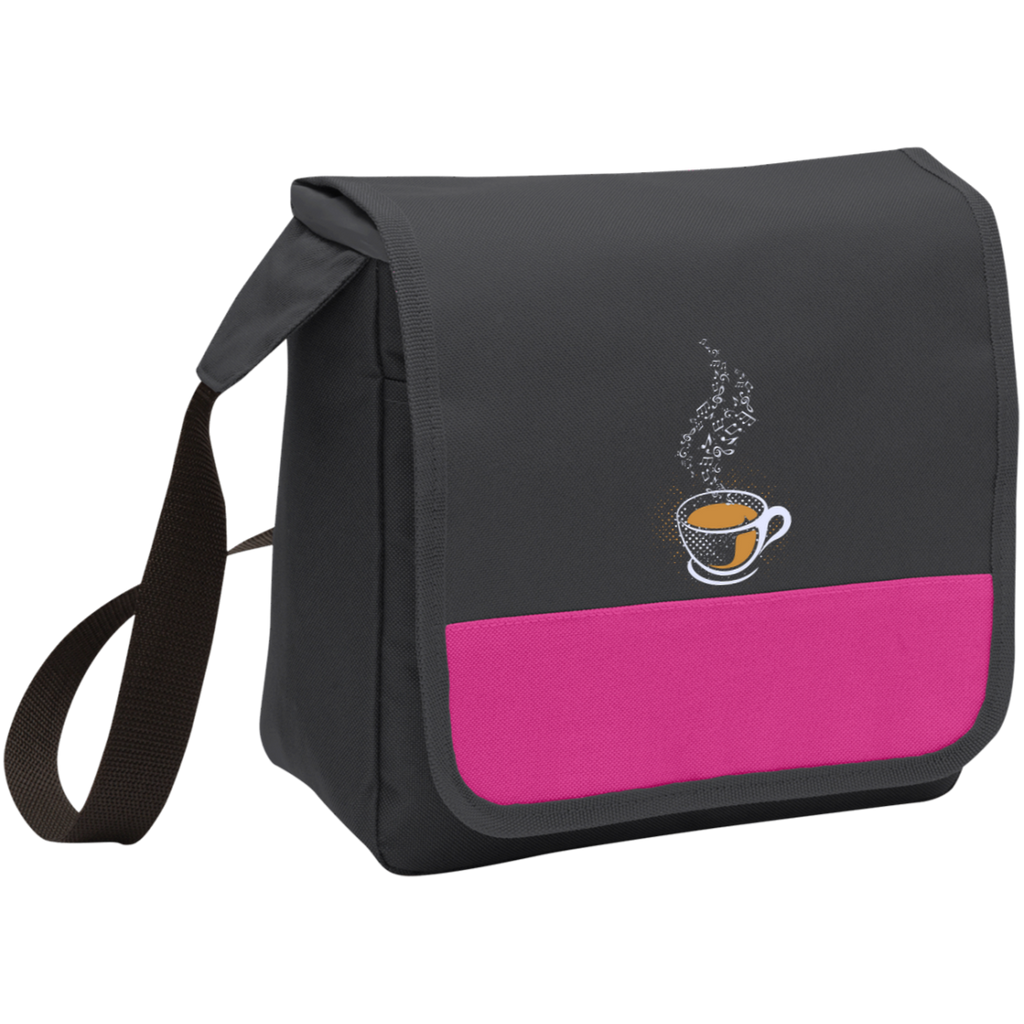 Coffee Art Music Notes Lunch Bag Cooler Pink