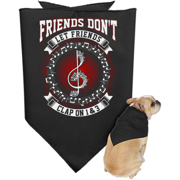 Friends Don't Let Friends Clap On 1 & 3 Jazzy Dog Bandana - Music Reading Savant Store