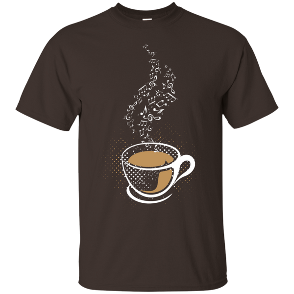 Coffee Art Music Notes Java Lover Unisex T-Shirt Dark Chocolate