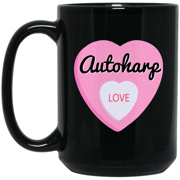 Autoharp Love Valentine's Day Hearts Coffee Mug Black