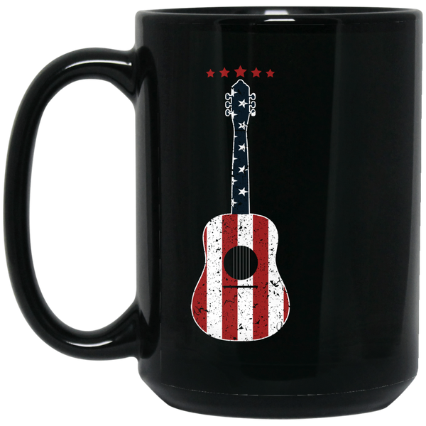 Patriotic Guitar Coffee Mug Black