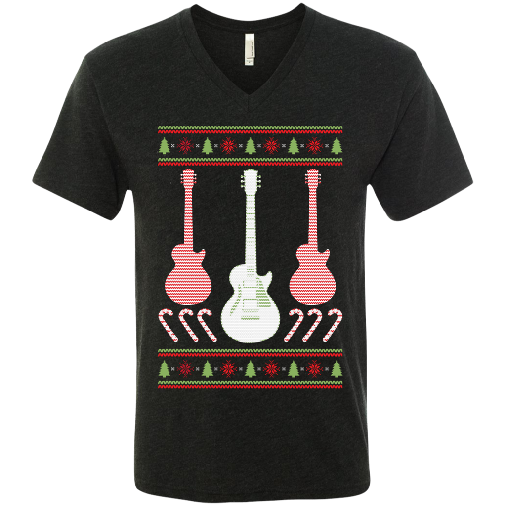 Electric Guitar Ugly Christmas Sweater Men's V-Neck Tee