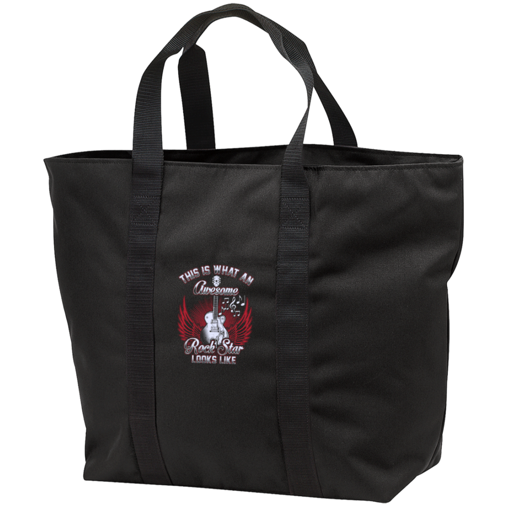 This Is What An Awesome Rock Star Looks Like Embroidered All Purpose Tote Bag - Music Reading Savant Store