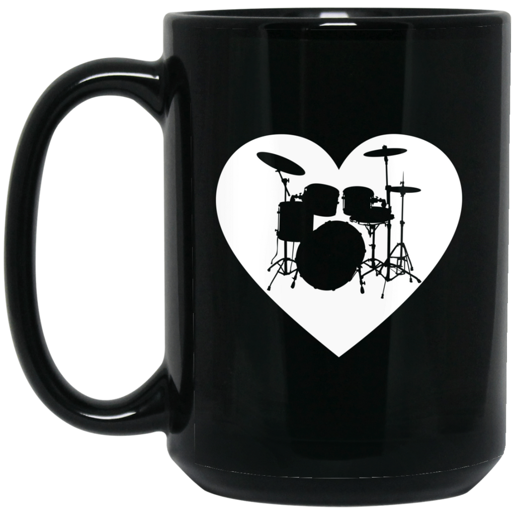 Drumset Heart Coffee Mug Black