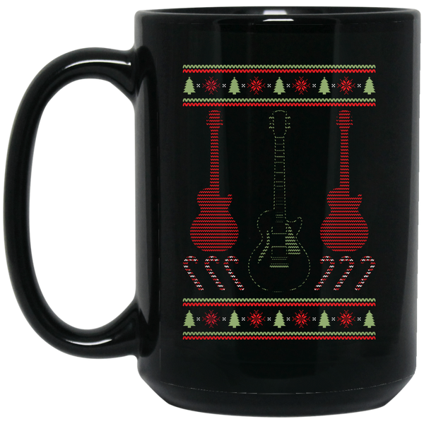 Electric Guitar Ugly Christmas Sweater Coffee Mug Black