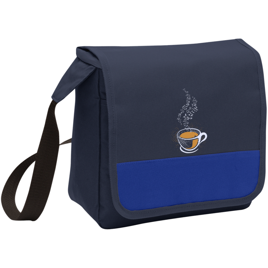 Coffee Art Music Notes Lunch Bag Cooler Navy