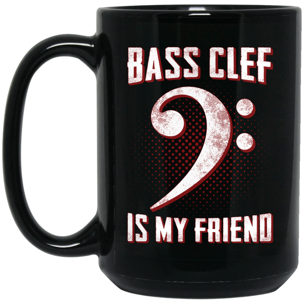 Bass Clef Is My Friend Coffee Mug Black