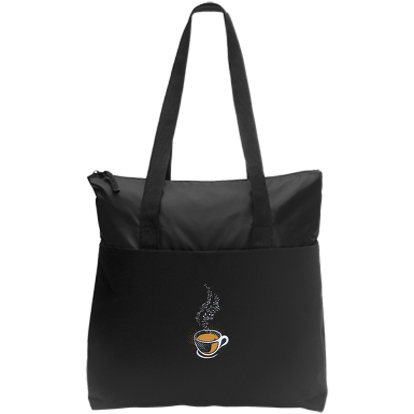 Coffee Art Music Notes Zip Top Tote Bag