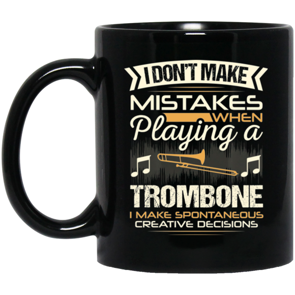 A trombone coffee mug for low brass players that don't make mistakes. LOVE giving unique music gifts like this. | Music Gifts For Musicians | Unique Coffee Mugs #MusicGifts #Mugs