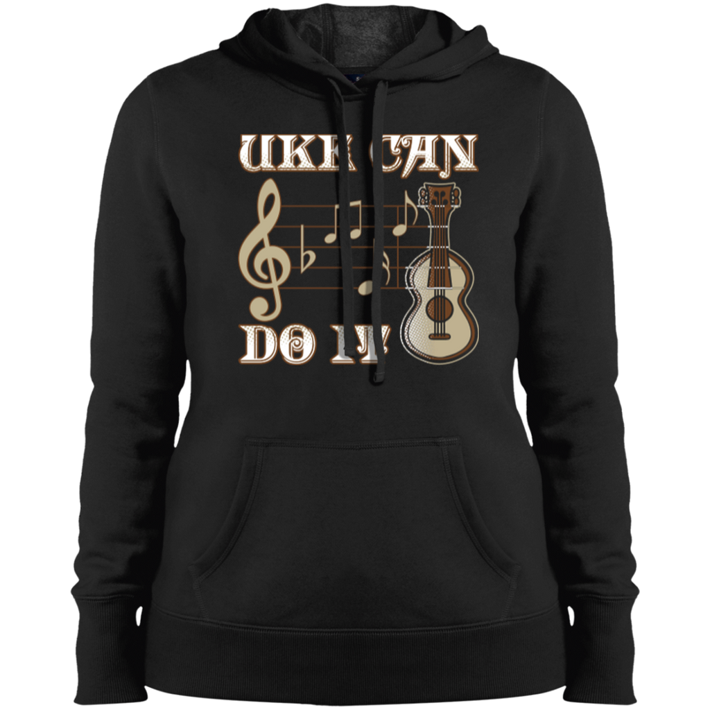 Uke Can Do It Ukulele Ladies Pullover Hooded Sweatshirt