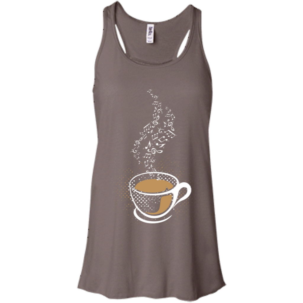 Coffee Art Music Notes Women's Flowy Racerback Tank Top Pebble Brown