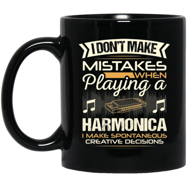 A coffee mug for harmonica players that don't make mistakes. I enjoy giving unique music gifts like this. | Music Gifts For Musicians | Unique Coffee Mugs #MusicGifts #Mugs