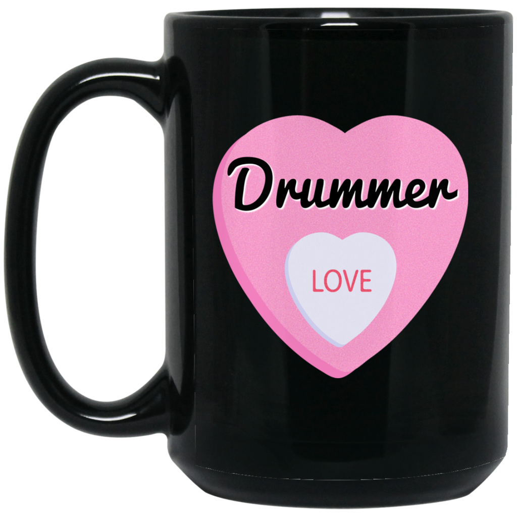 Drummer Love Valentine's Day Hearts Coffee Mug Black