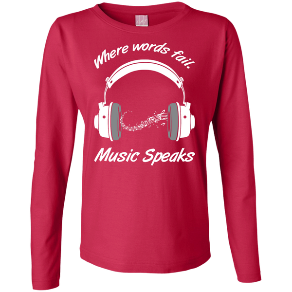 Music Speaks Ladies Long Sleeve Cotton T-Shirt
