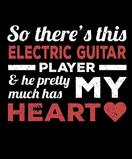 Electric Guitar Player Heart Day Poster