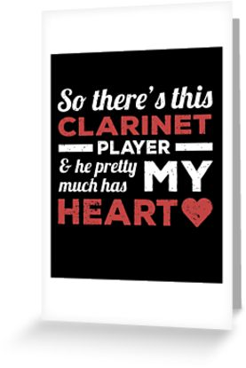 Clarinet Player Heart Greeting Card