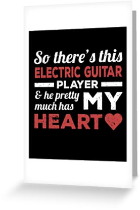 Electric Guitar Player Heart Greeting Card