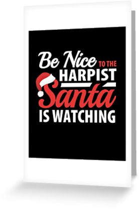 Harpist Santa Greeting Card