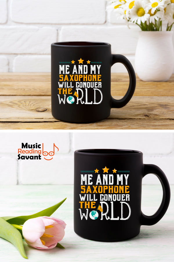 Saxophone World Coffee Mug Black