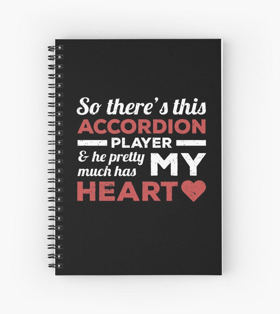 Accordion Player Heart Spiral Notebook